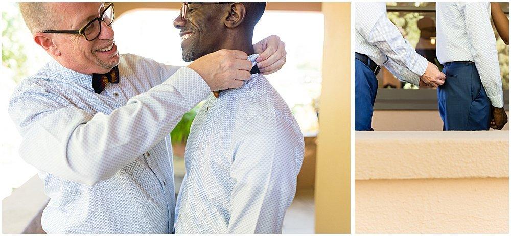 Grooms putting ties on before Tre Posti Wedding