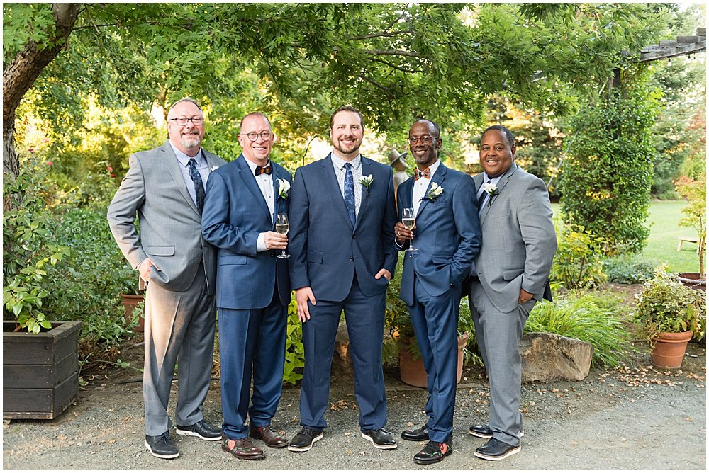 Grooms and groomsmen before Tre Posti Wedding by chloe jackman photography