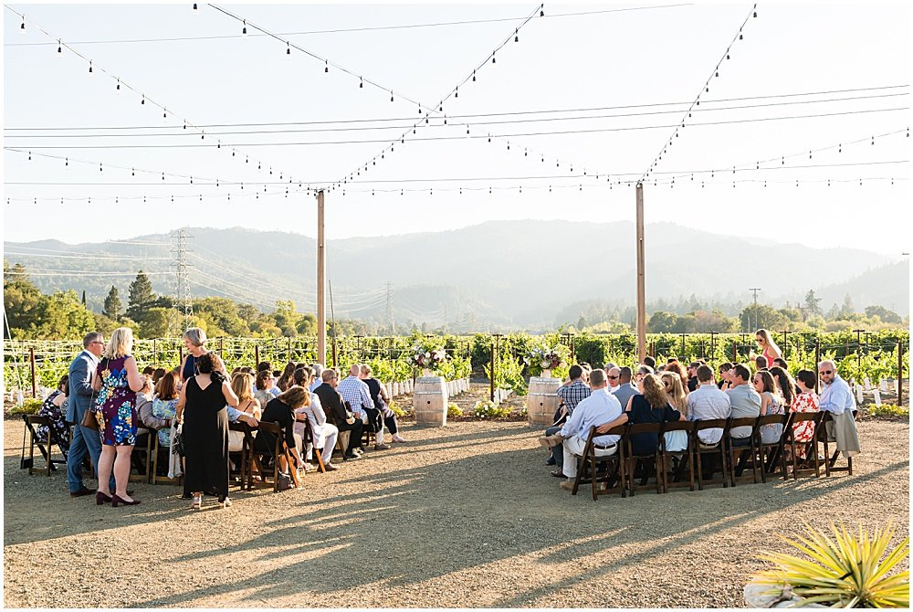 Guests seated at Tre Posti Wedding by chloe jackman photography