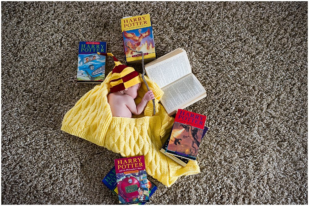 Baby with harry potter stuff for bay area family photographer by chloe jackman photography