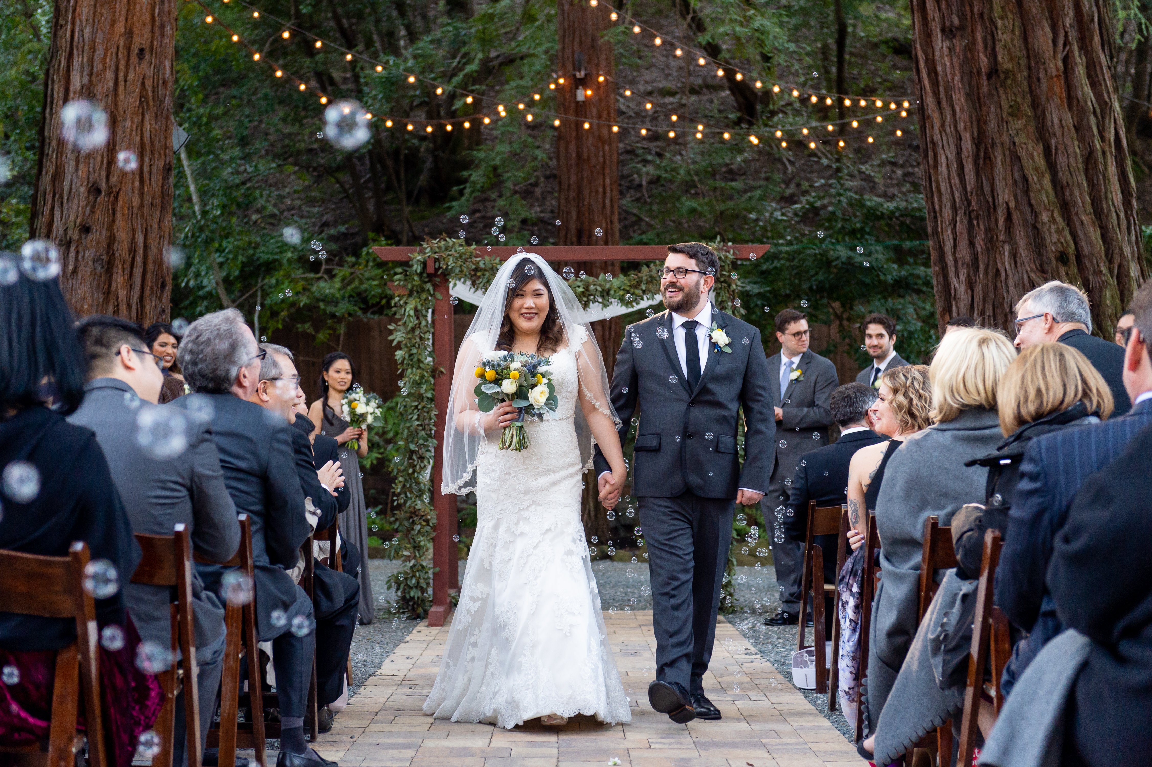 Couple walks down aisle at Deer Park Villa wedding fairfax by chloe jackman photography