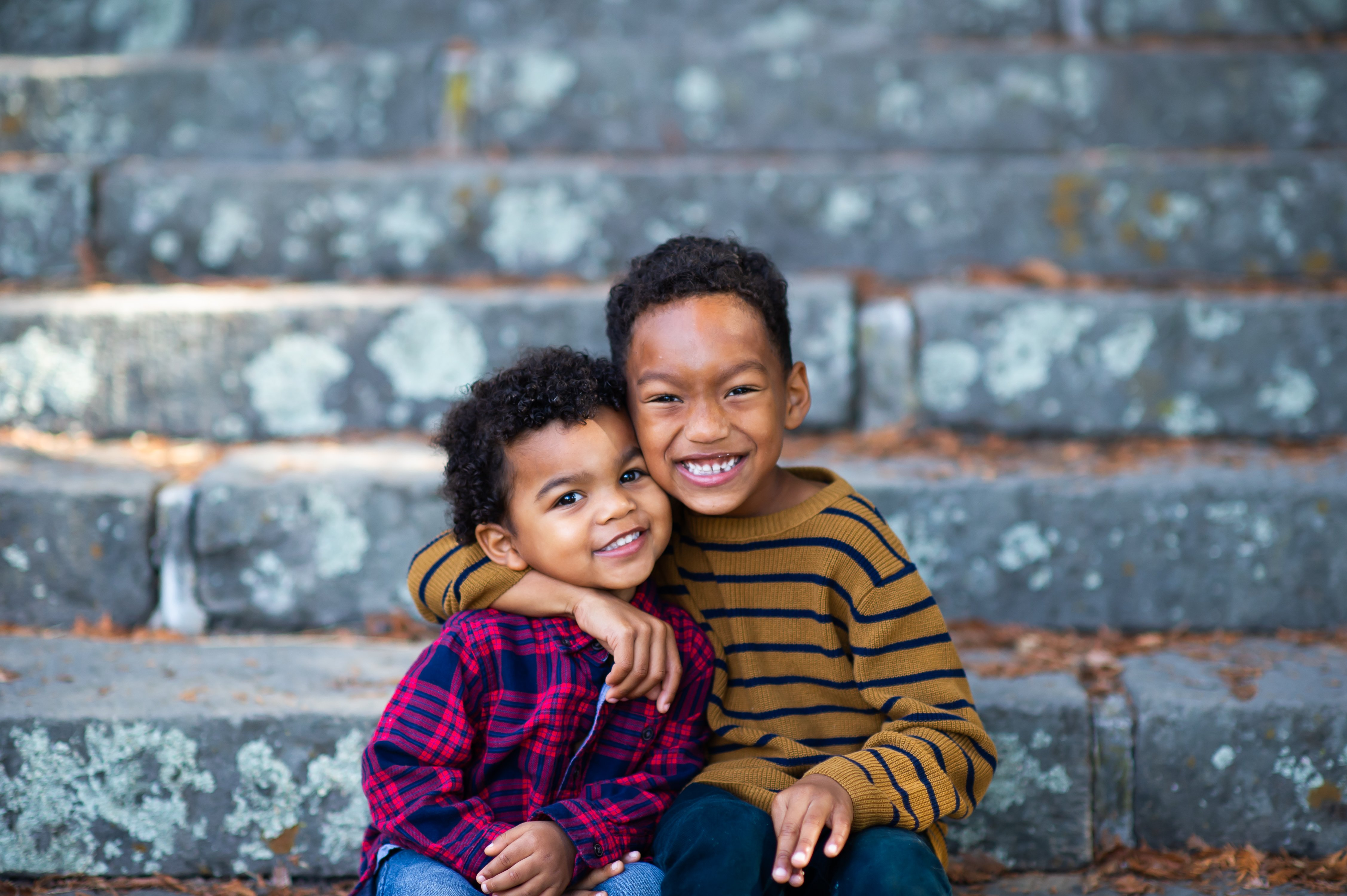Cute brothers on stairs for Bay Area Family Photography by chloe jackman photography