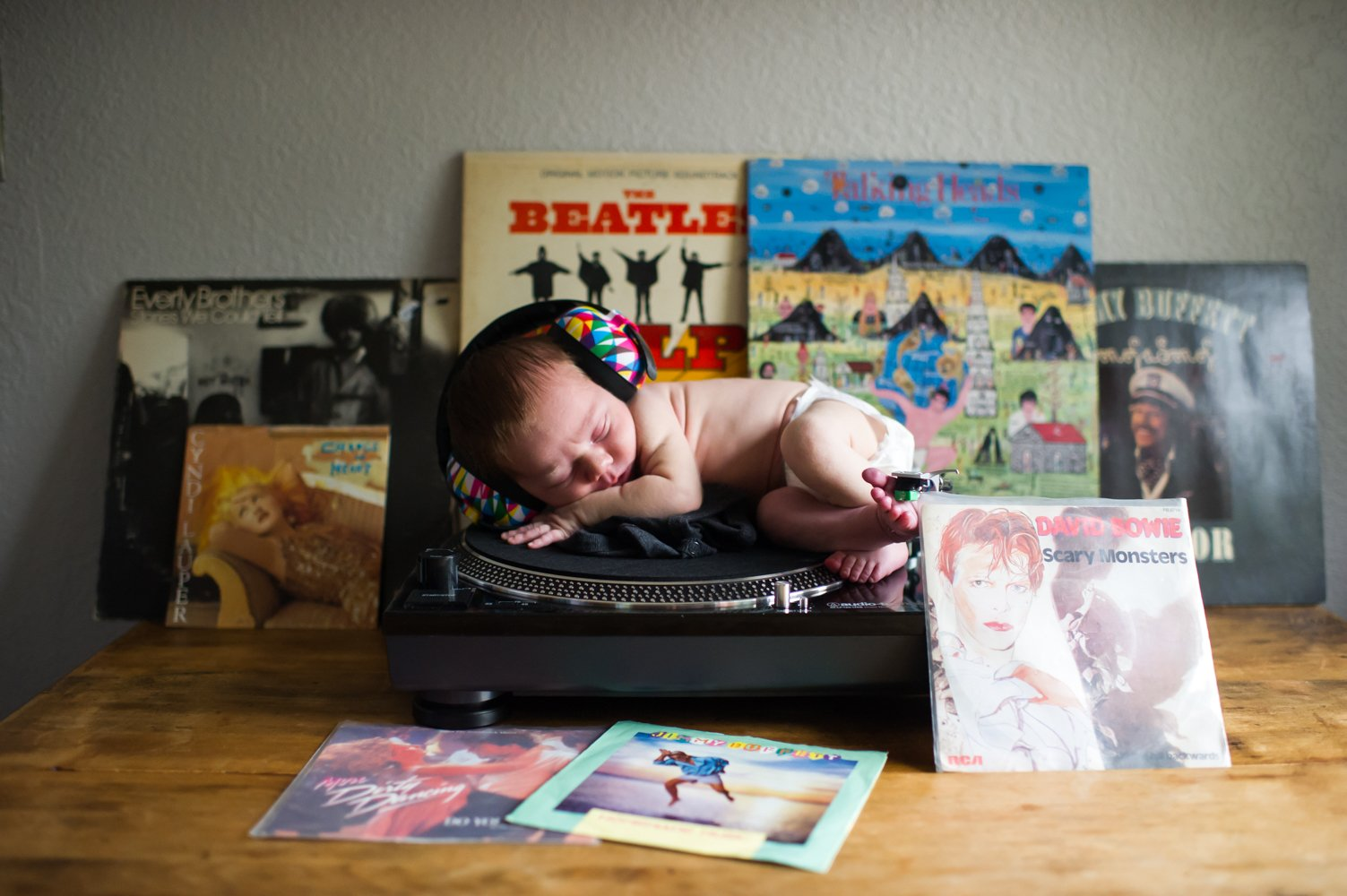 Baby on a turntable for Bay Area family photographer by chloe jackman photography