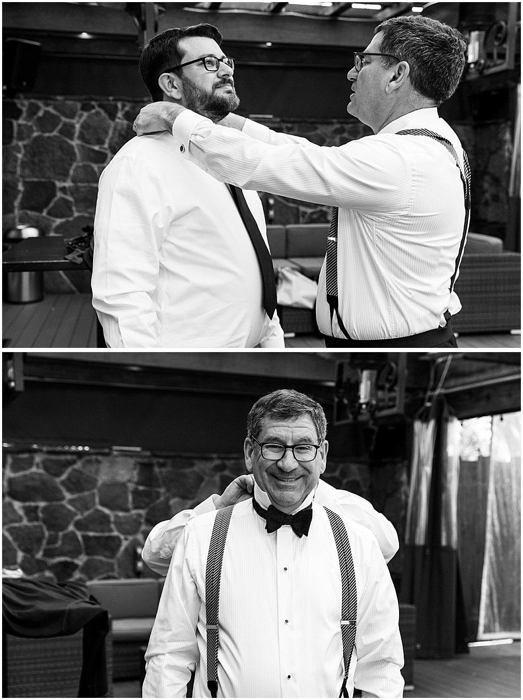 Groom and father get ready before Deer Park Villa Wedding Fairfax