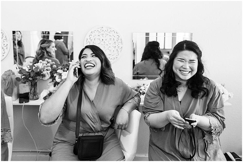 Bridesmaids laugh at Deer Park Villa Wedding Fairfax