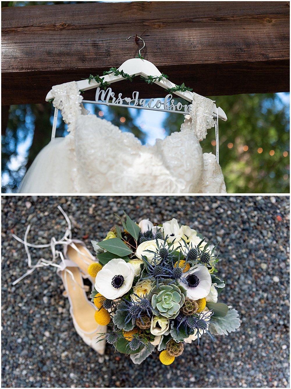 brides dress and flowers Deer Park Villa Wedding Fairfax