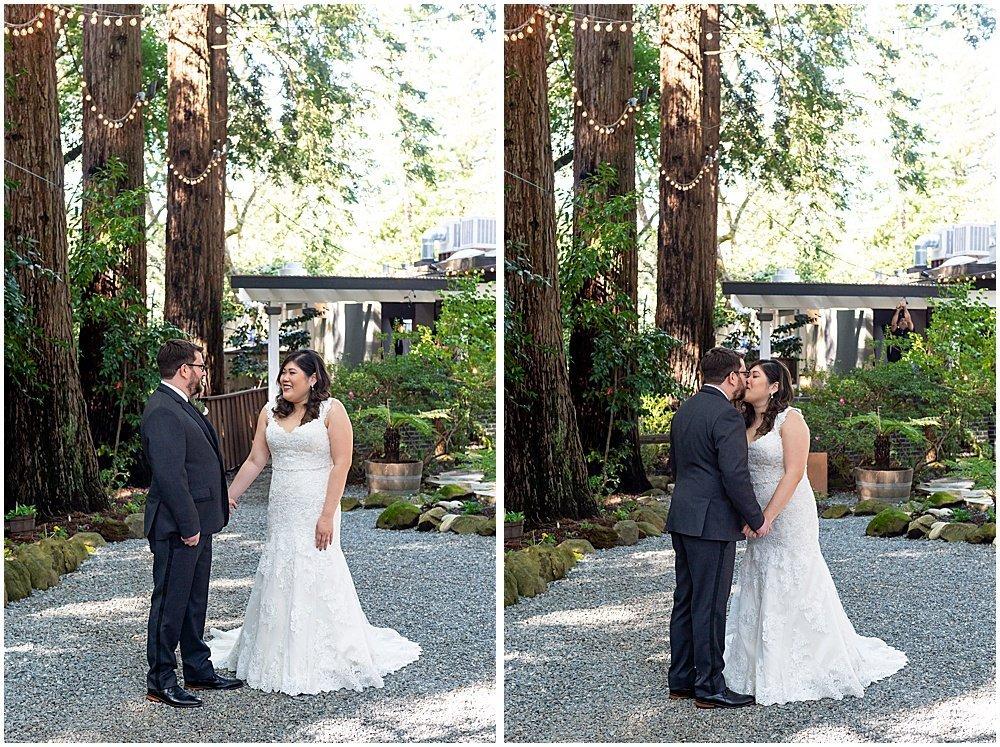 first looks kiss Deer Park Villa Wedding Fairfax
