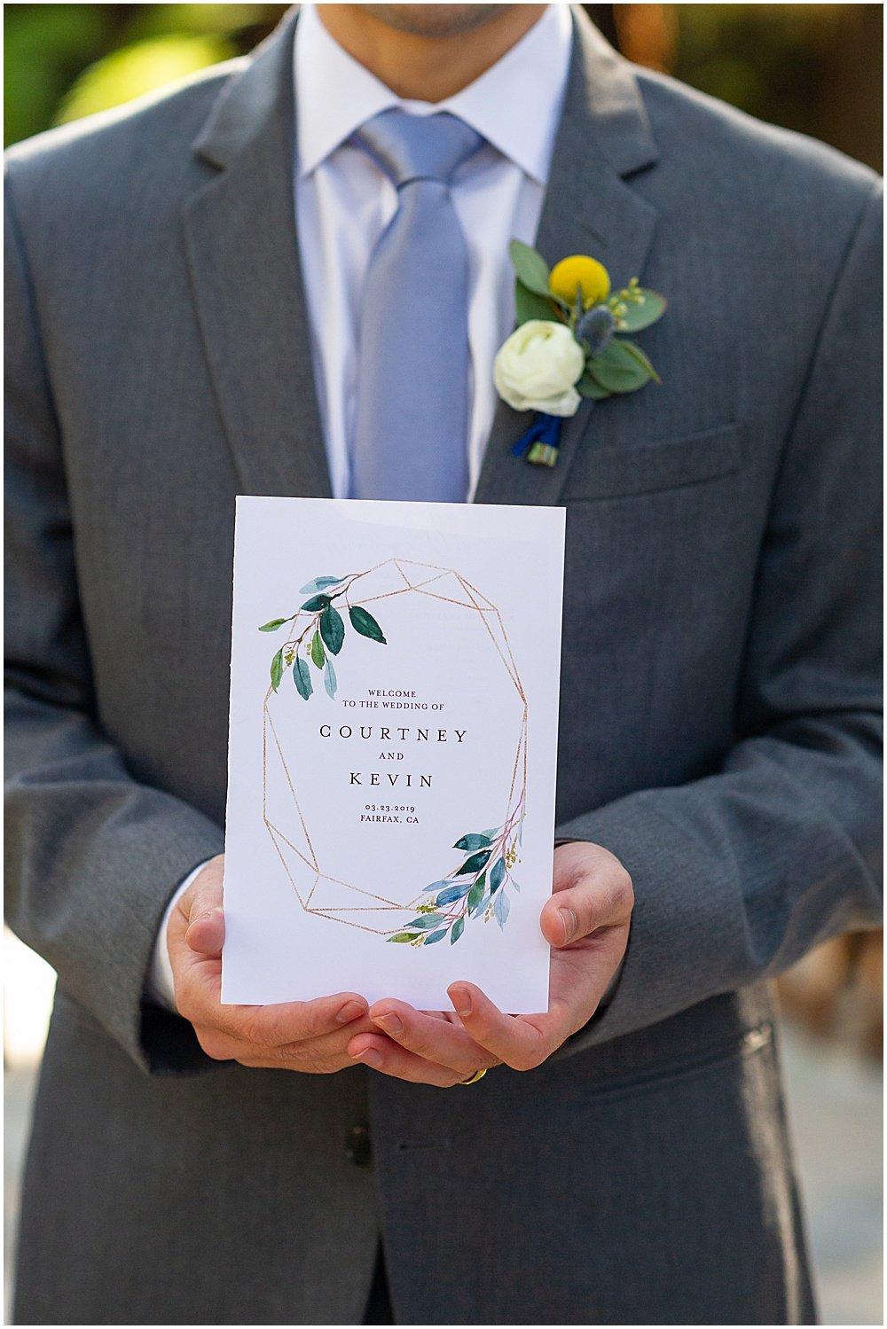 wedding invite for Deer Park Villa Wedding Fairfax by chloe jackman photography