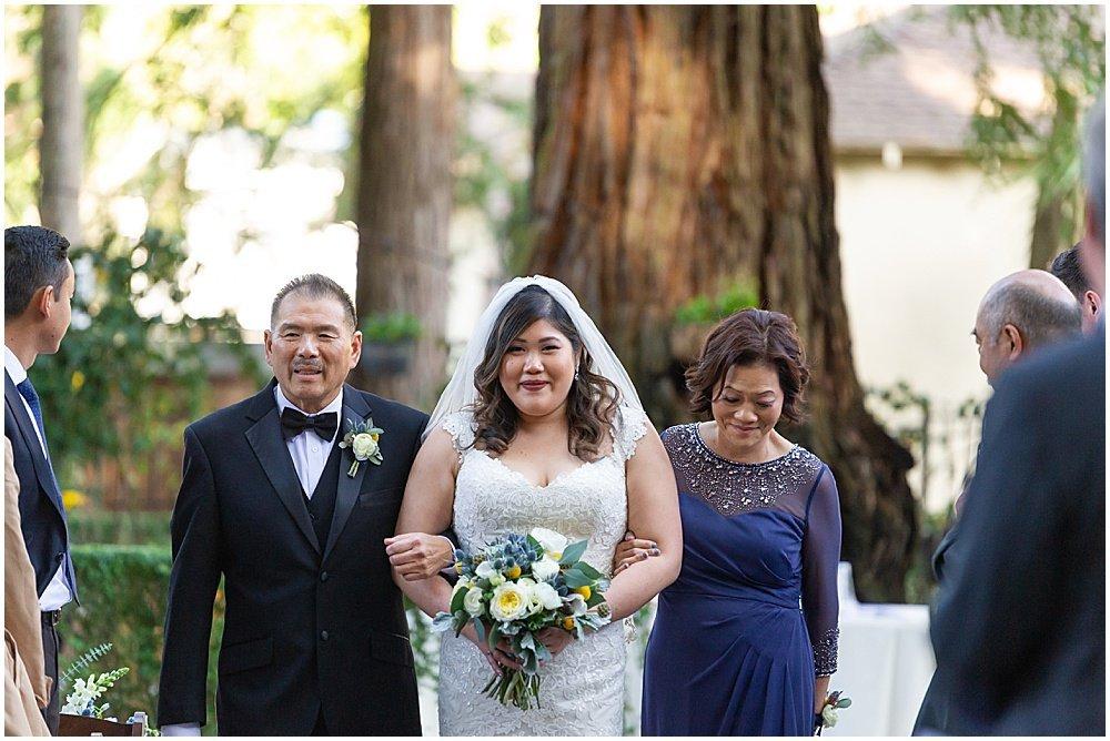 bride walks down aisle Deer Park Villa Wedding Fairfax by chloe jackman photography