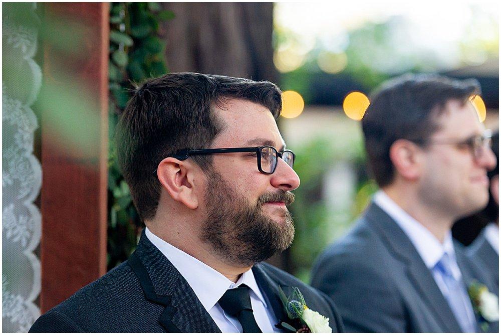 groom cries Deer Park Villa Wedding Fairfax