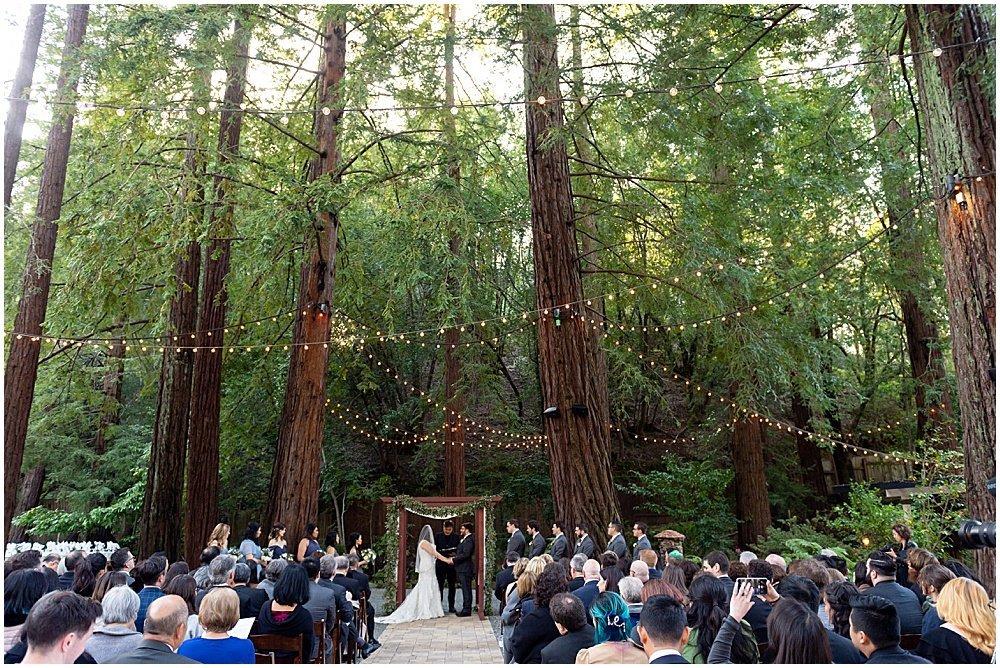 wide shot of ceremony at Deer Park Villa Wedding Fairfax by chloe jackman photography