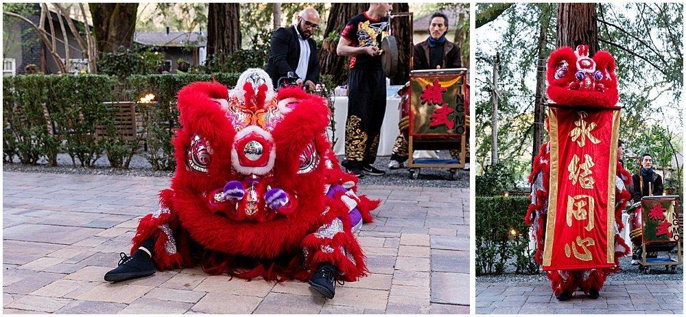 lion dance at Deer Park Villa Wedding Fairfax
