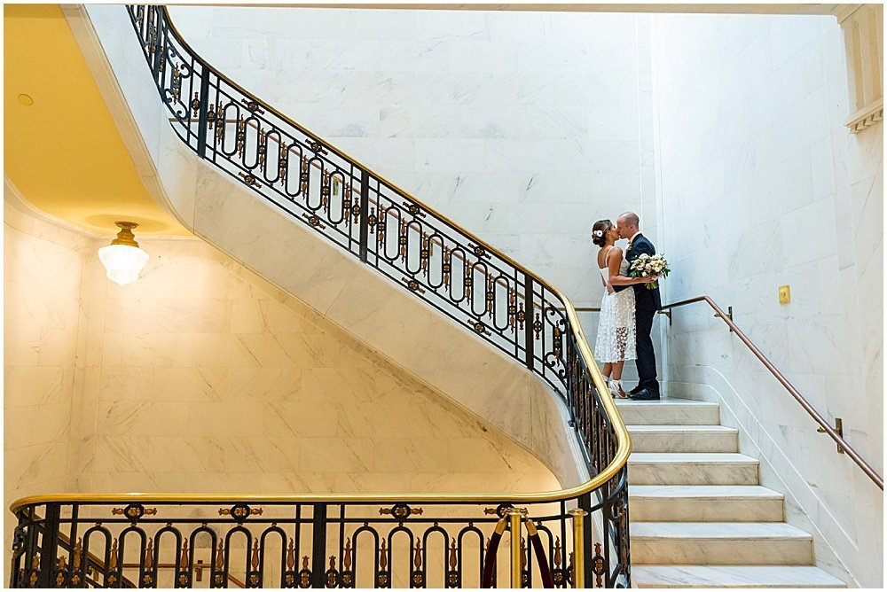 on the staircase sf city hall weddings
