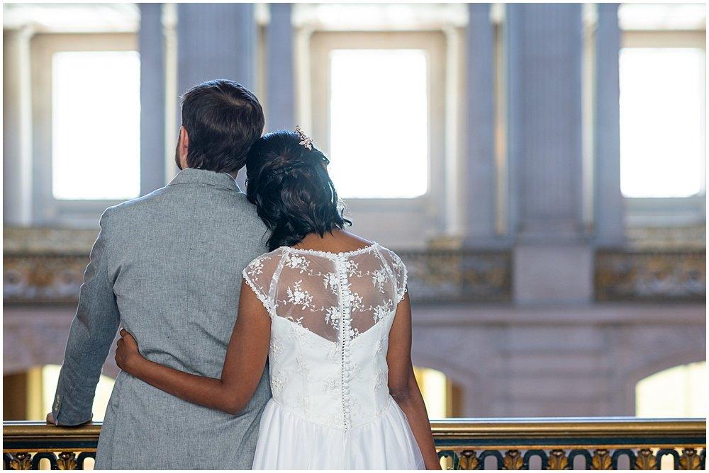 San Francisco city hall wedding bride and groom