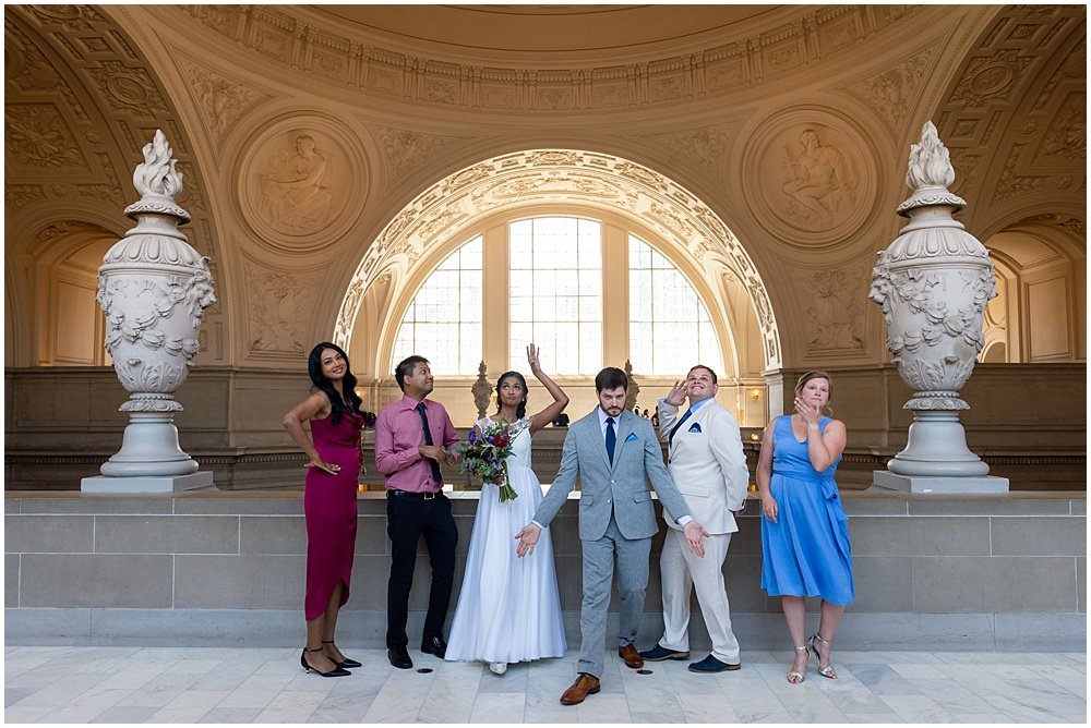 San Francisco city hall wedding family photo