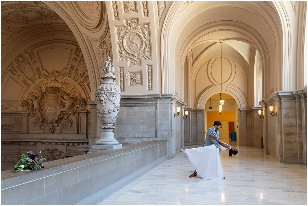 marble floor san francisco city hall wedding photos