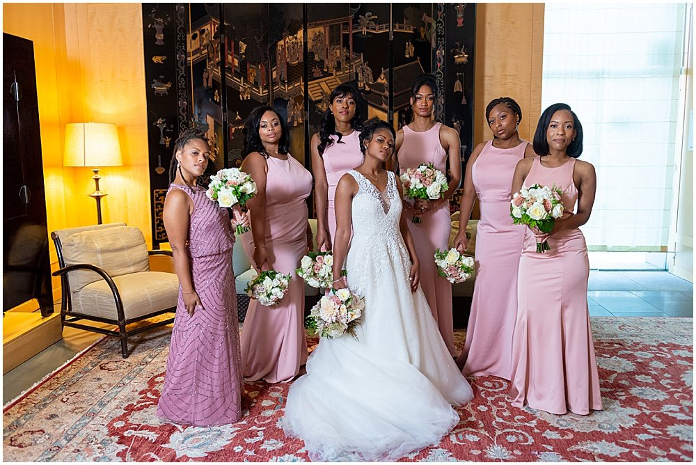 Bride with Bridesmaids at San Francisco Asian Art Museum Wedding