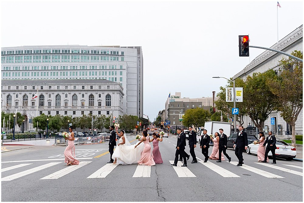 Wedding party in San Francisco Civic Center Plaza