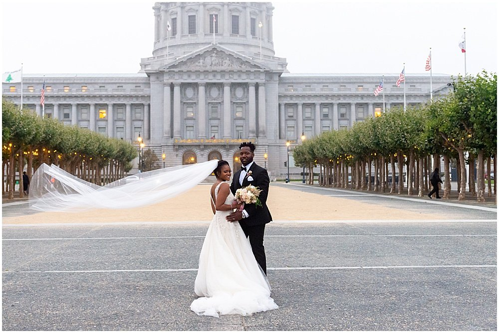 Bride and Groom in San Francisco Civic Center Plaza