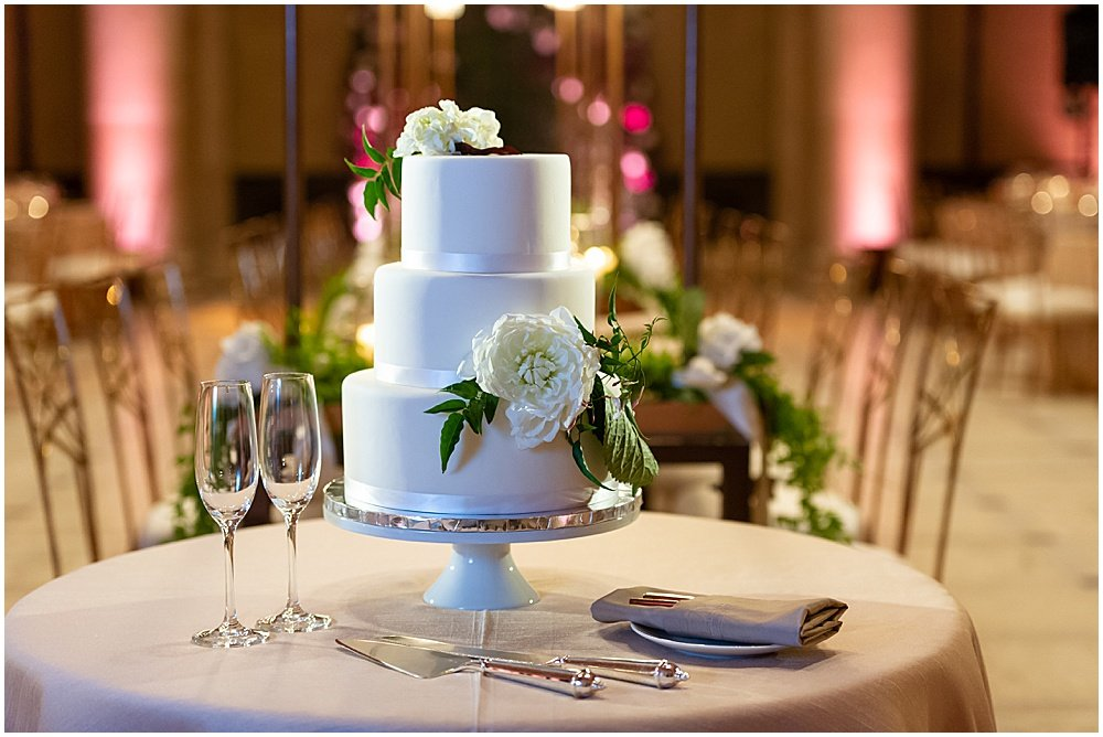 Three tiered cake at San Francisco Asian Art Museum Wedding