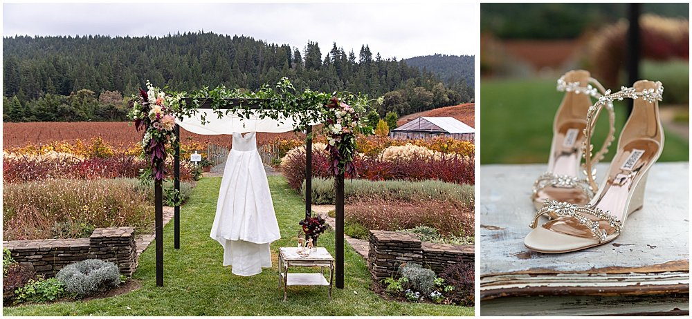 Dress and shoes at Goldeneye winery wedding