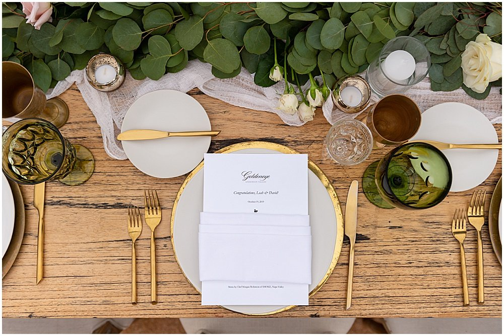 gold flatware and table setting goldeneye winery wedding