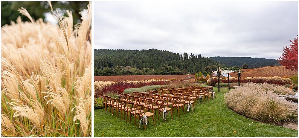 Wheat and ceremony location Goldeneye winery wedding