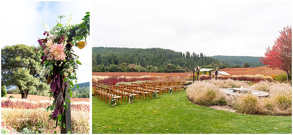 Alter flowers and ceremony space Goldeneye Winery wedding