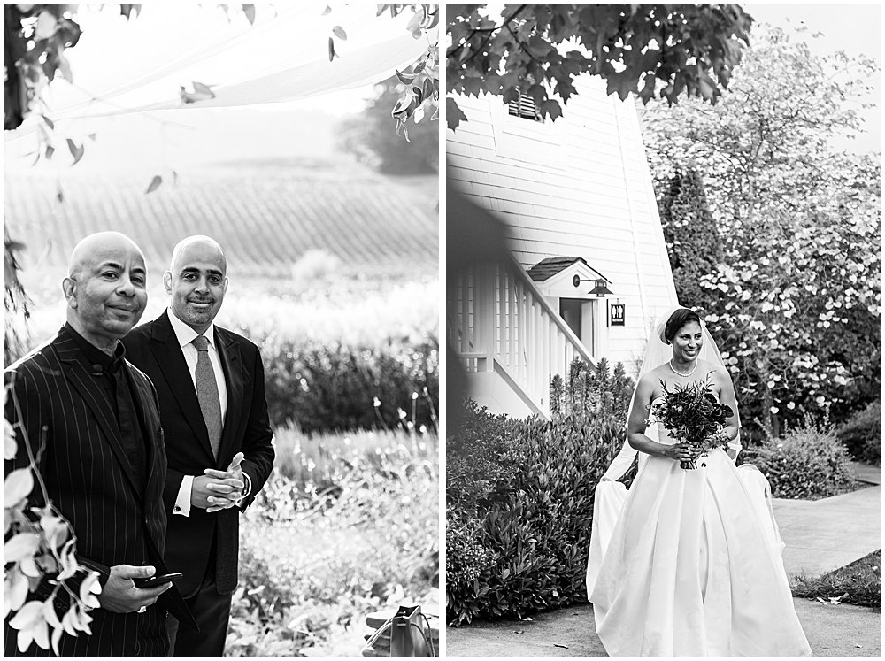 Groom, officiant and bride at the ceremony Goldeneye Winery wedding