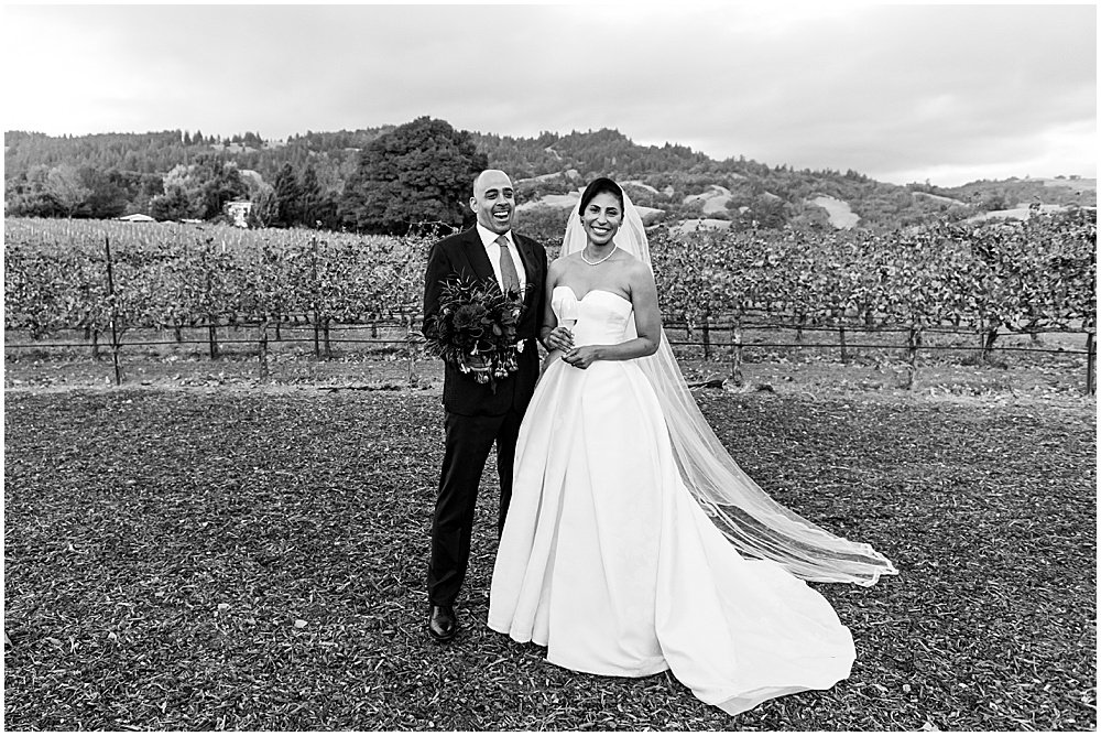 In the vineyard at Goldeneye winery wedding