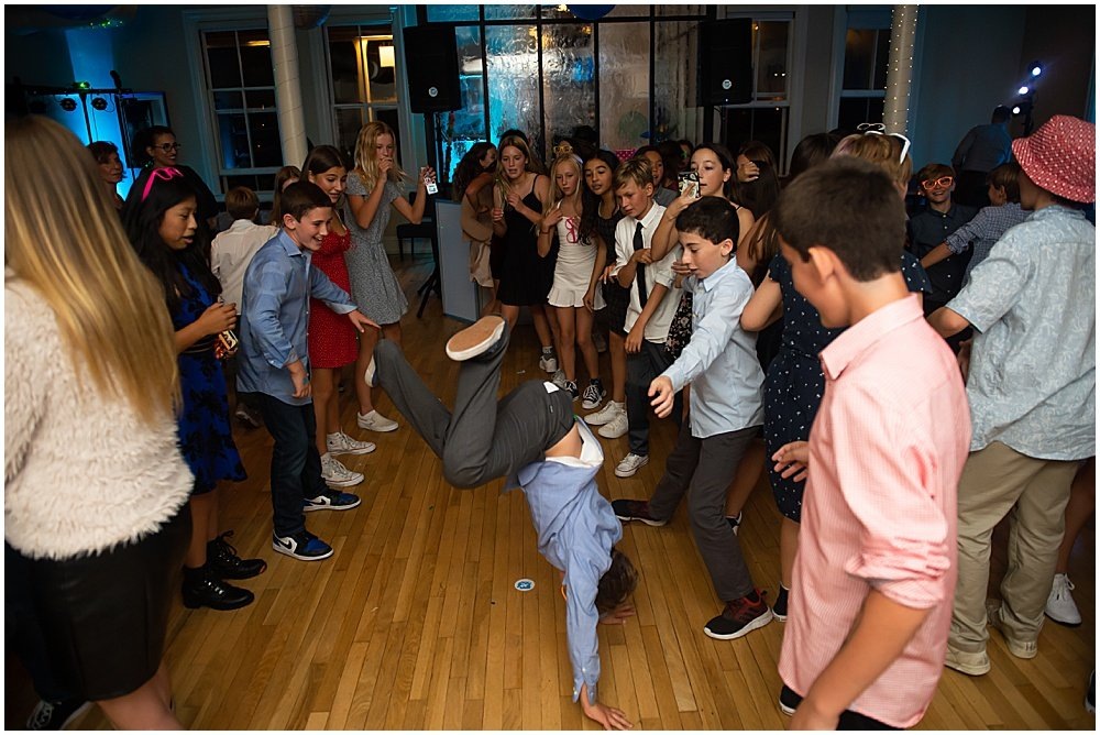 Kids breakdancing at a Bat Mitzvah