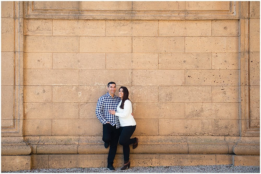 In front of the Palace of fine arts engagement photo