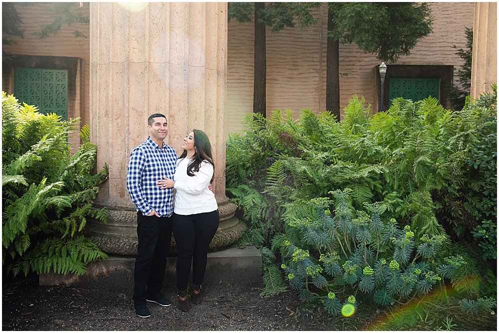 Marble column engagement photo at the Palace of Fine Arts