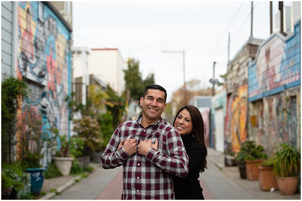 Mission district engagement photos in Balmy alley San Francisco