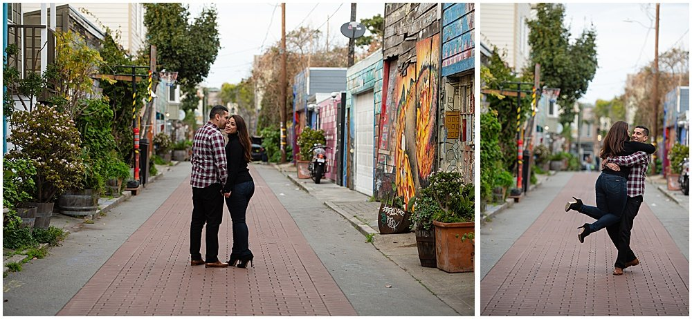 best places for engagement photos in san francisco Balmy Alley