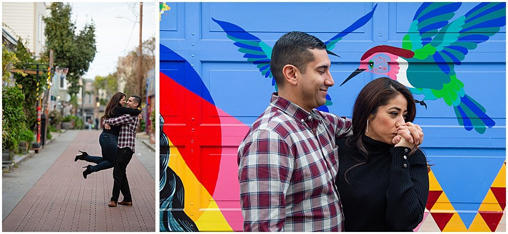 Balmy Alley murals engagement photos
