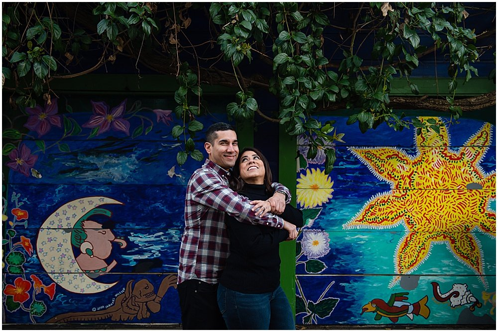 best places for engagement photos in san francisco in Balmy Alley