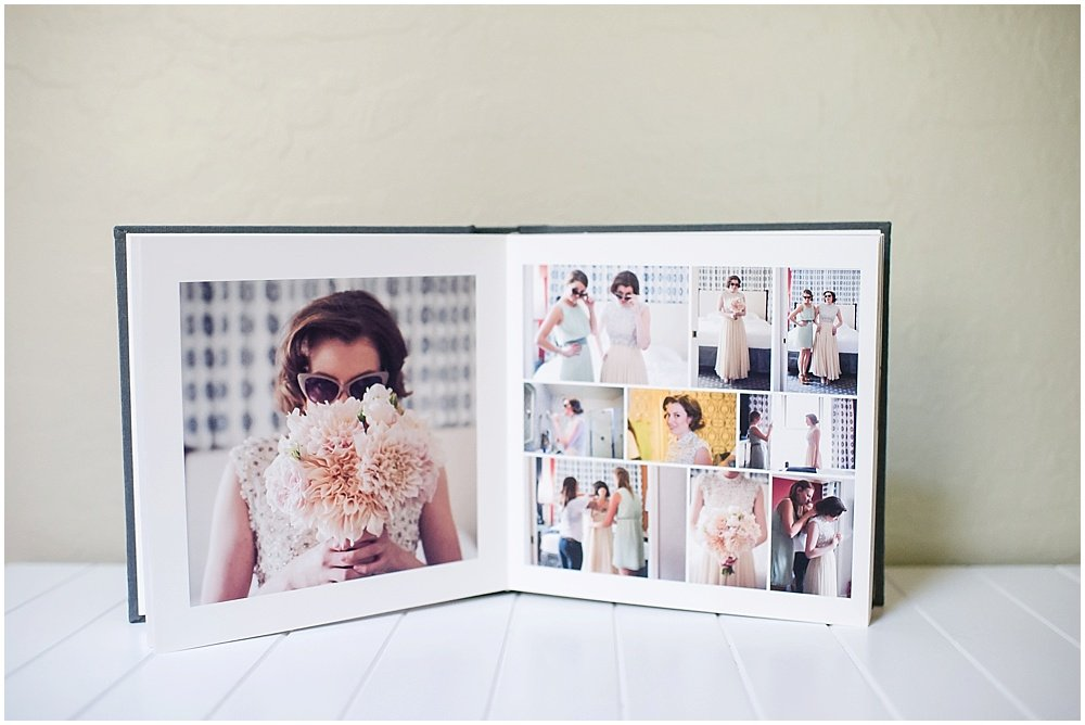wedding day pictures in a tangible memories album