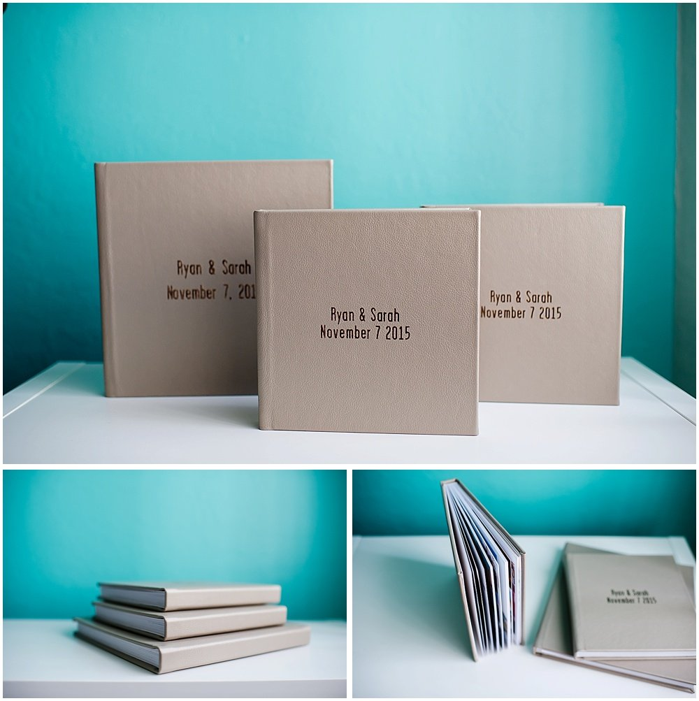 printed photo album book with gold lettering