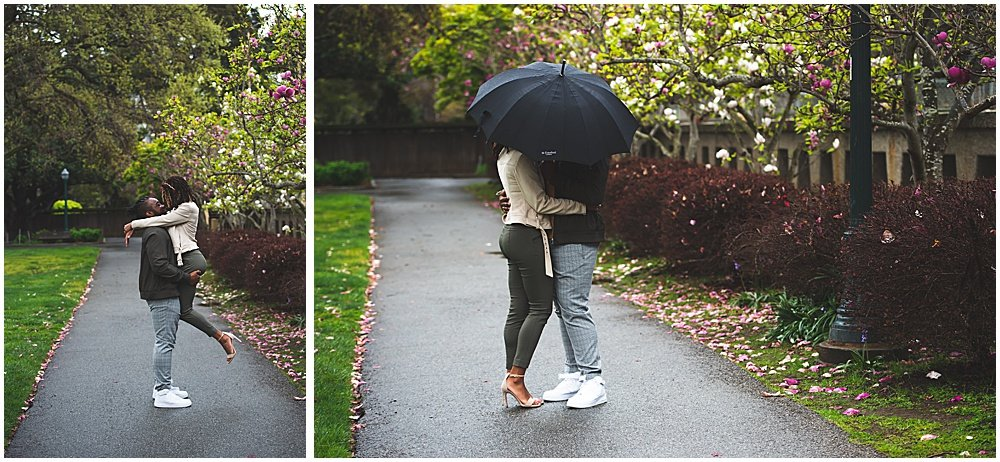 Rainy day engagement photo before postponing your wedding