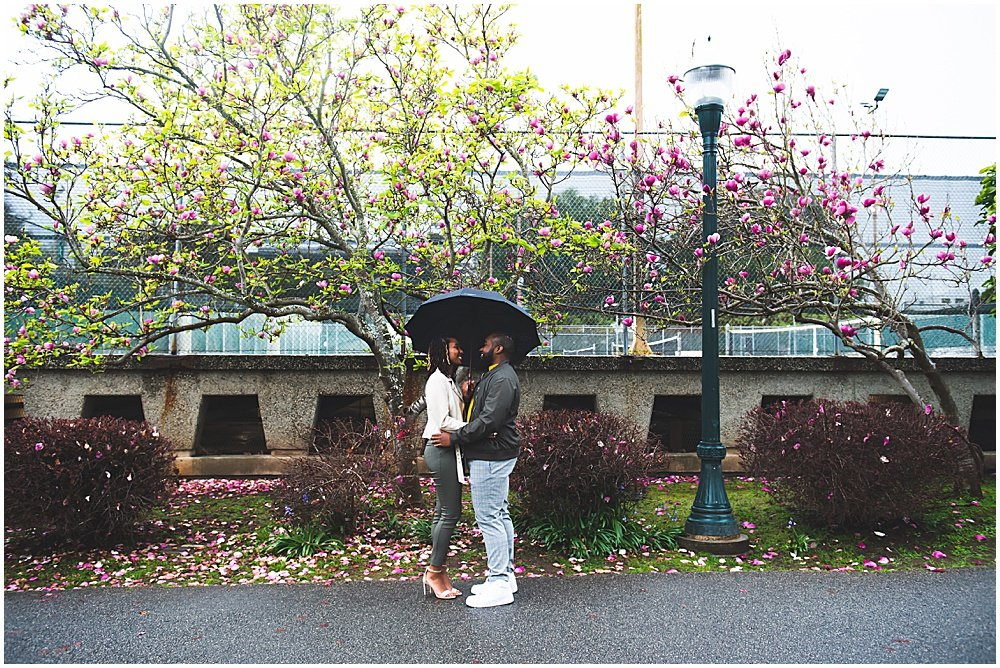 Bria and Luther under an umbrella by chloe jackman photography