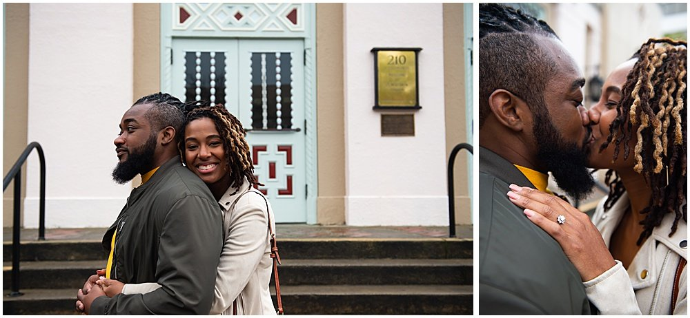 Bria and Luther smooch outside a building