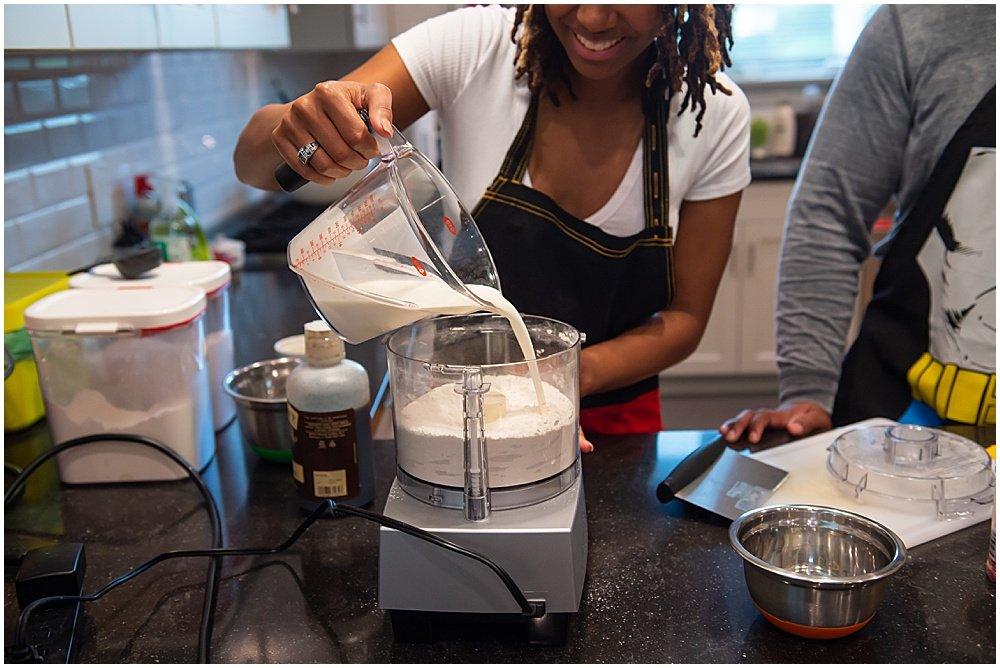making shortcake dough with bria and luther for an engagement photoshoot