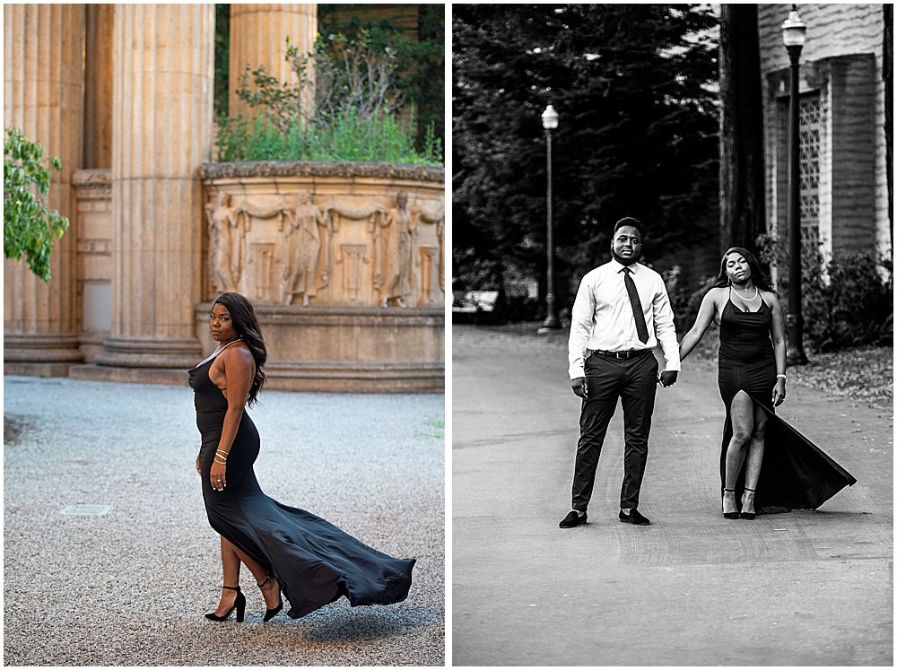 Photographs of a couple at the Palace of fine arts San Francisco